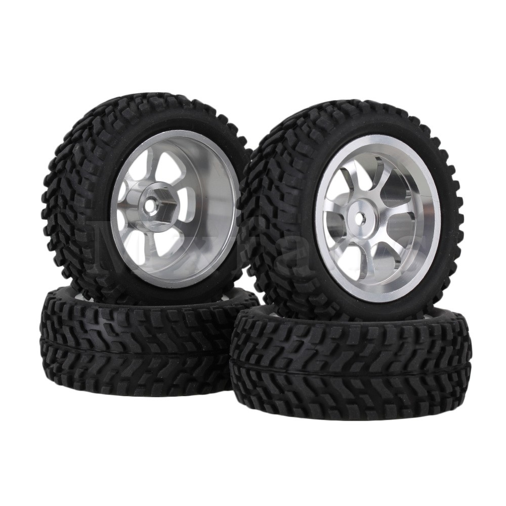Mxfans 4 x Alloy 7-Spoke Wheel Rim & 70mm Dia Rubber Tyre for RC1:10 On Road Car Black mxfans 4 x rc1 10 rock crawler black alloy 7 spoke wheel rim simulation rubber tyre