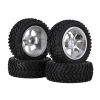 4 X Alloy 7 Spoke Wheel Rim 70mm Dia Rubber Tyre For RC1 10 On Road