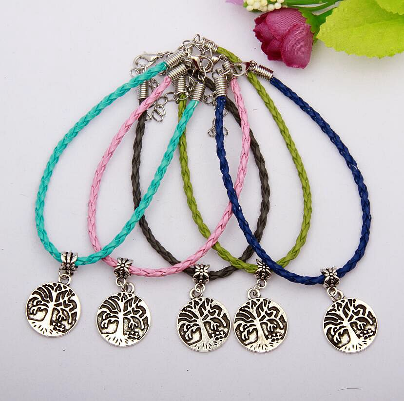50pcs Zinc Alloy Silver Tag Tree Charms Multicolor Braided Rope Protection Good Luck Bracelets DIY Jewelry For Women&Men N050