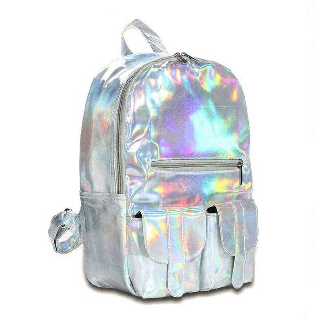 5462b26be022 2019 Лидер продаж Мода Голограмма Рюкзак для школьников Женская Лазерная  серебряный цвет голографическая сумка DF111
