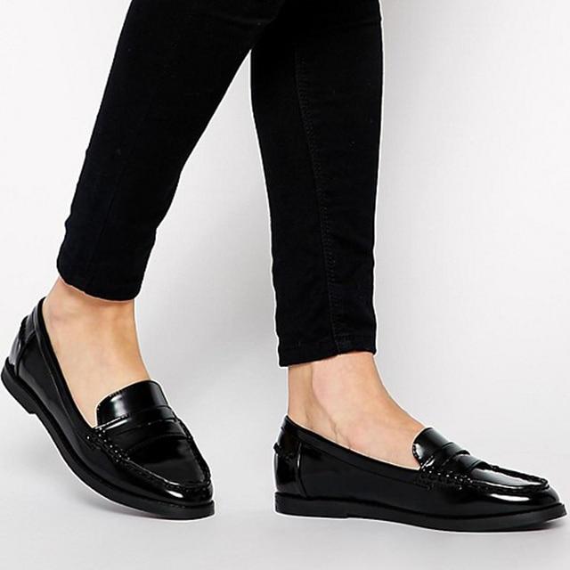 ce4b4ec5343 Teahoo 2018 femmes sans lacet Penny mocassins à la main en cuir verni  femmes chaussures plates
