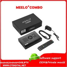 2PCS Meelo+ Combo Satellite TV Receiver 1200MHz Dual DMIPS Processor DVB-S2+DVB-T2/C X SOLO MINI 3 Network Media player 1080P