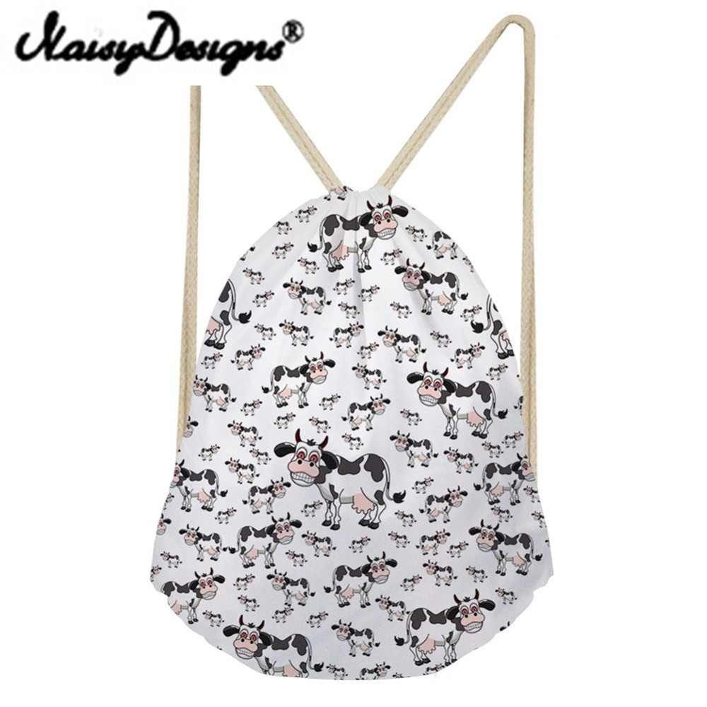 Noisydesigns Carton Animals Dairy Cows Printing Cute Drawstring Backpacks School Summer Travel Gift Pouch 2018 Mochila Infantil