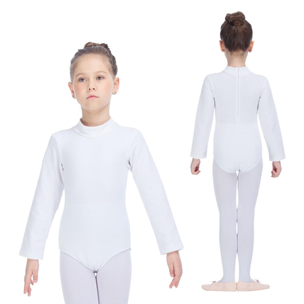 760aee8028c7 Kids Gymnastics Bodysuit White Cotton Lycra Long Sleeve Turtle Neck ...