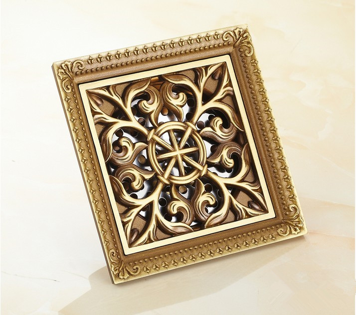 12*12cm Euro Style Antique Brass Flower Carved Shower Floor Drain/Waste Drainer/Sink Grate Floor Drain/bathroom shower hair trap free shipping high quality antique brass carved flower art bathroom accessory floor drain waste grate100mm 100mm yt 2110