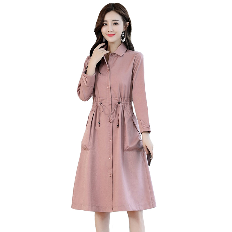 New Thin   Trench   Coat Women Spring Autumn Single-breasted Long Windbreaker Students Casual Tops Plus size female   Trench   Coat H769