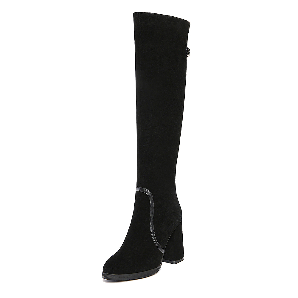 Women Full Grain Leather Round Toe Buckle Short Plush Thick Warm Thigh High Boots Real Leather Zip High Heels Long Boots 0212