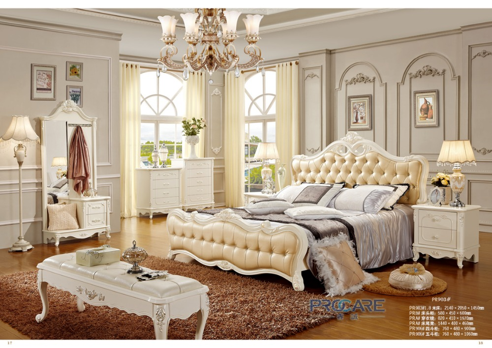 European Royal Style Queen Size Golded Yellow Color Solid Wood Hand Carved Bedroom  Furniture Set From Foshan 903