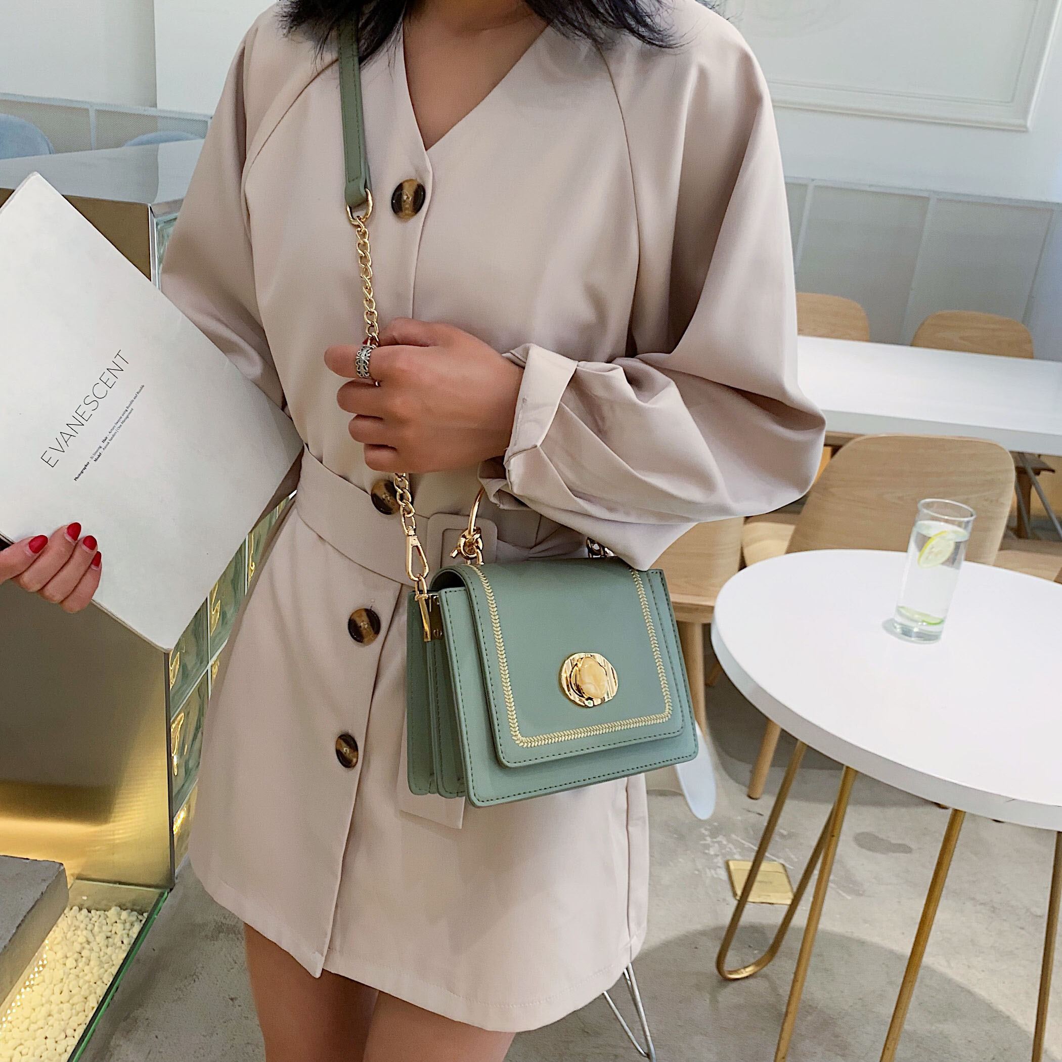 Image 2 - Solid color Leather Mini Crossbody Bags For Women 2019 Summer Messenger Shoulder Bag Female Travel Phone Purses and Handbags-in Shoulder Bags from Luggage & Bags