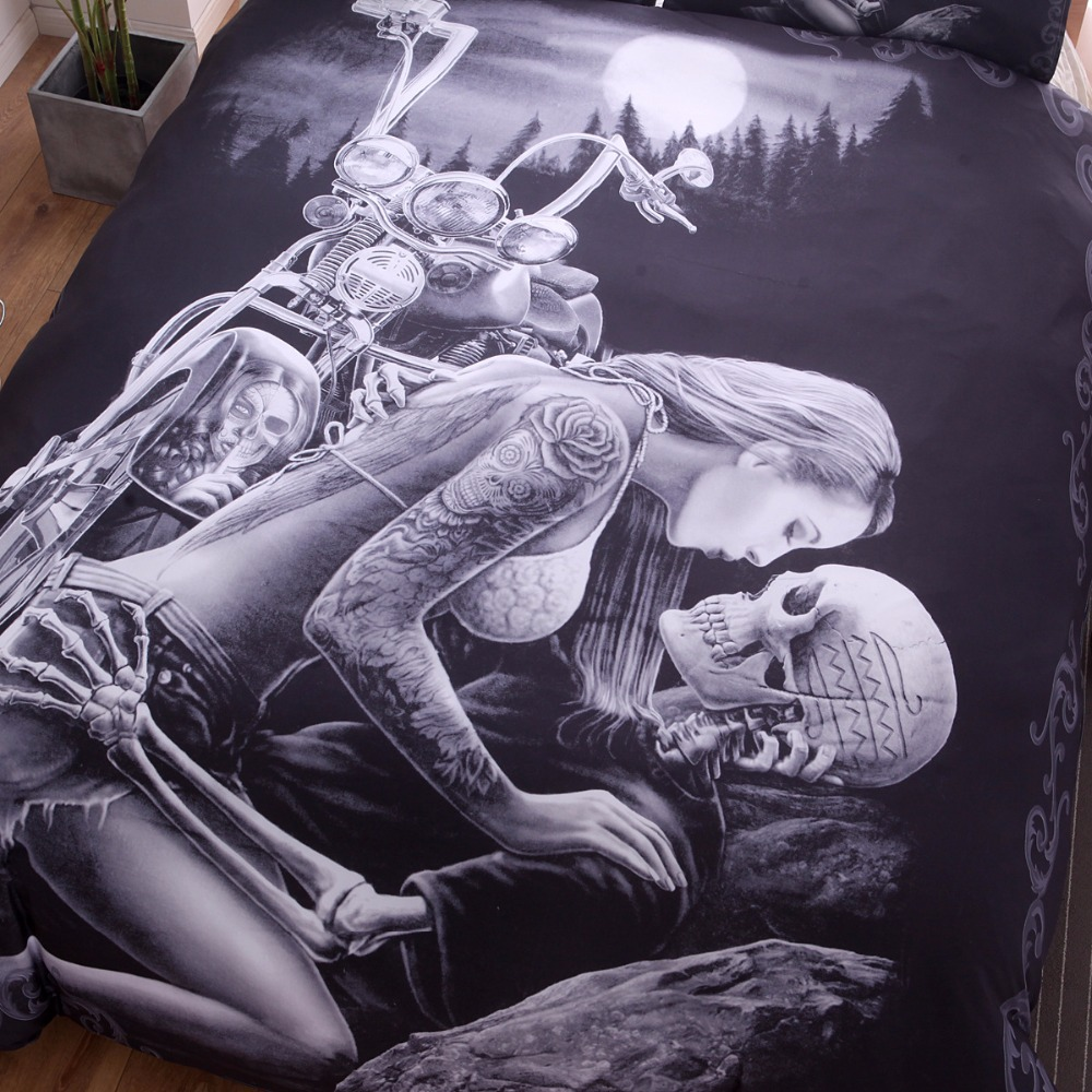 Image 2 - New 3D Black Motorcycle Skull Printed Duvet Cover Set 2/3pcs Single Queen King Bedclothes  Bed Linen Bedding Sets No sheet SJ126-in Bedding Sets from Home & Garden
