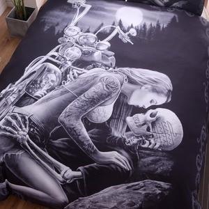 Image 2 - New 3D Black Motorcycle Skull Printed Duvet Cover Set 2/3pcs Single Queen King Bedclothes  Bed Linen Bedding Sets No sheet SJ126
