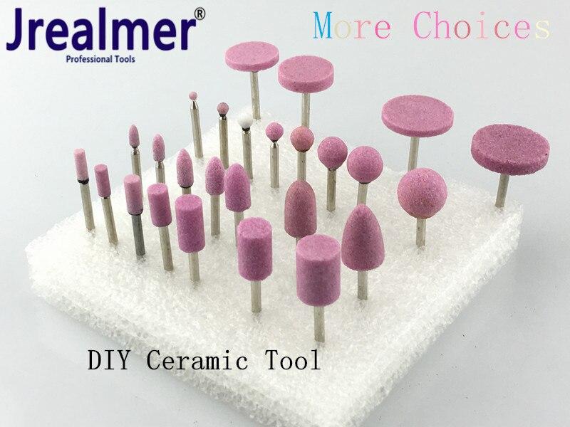 Jrealmer DIY 5pcs Abrasive Mounted Stone Multi Tool Grinding Burr Wheel 3mm Shank For Dremel Rotary Tools