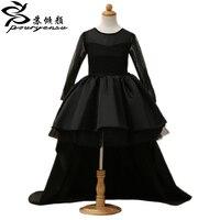 2016 Siyah Çiçek Kız Elbise Yüksek Düşük Scoop Uzun Kollu Kat Uzunluk Saten Tül Balo Çocuk Düğün Elbiseleri