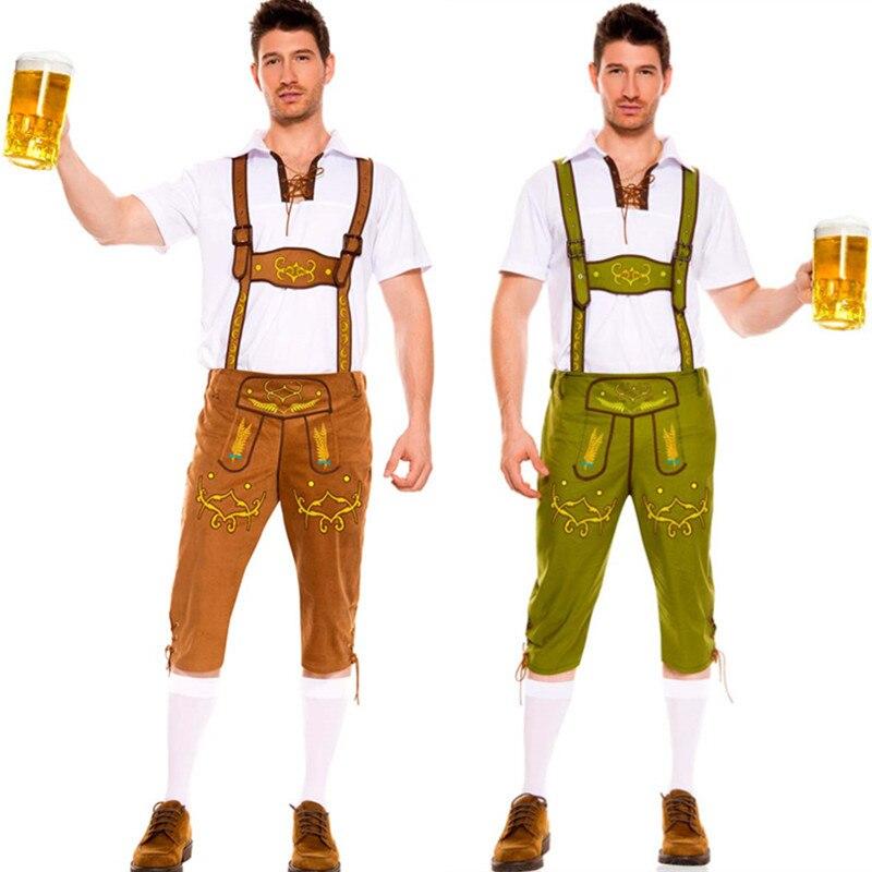 Men Halloween Costumes Adults Oktoberfes Costumes Men Beer Festival Suit Beer Men Halloween Cosplay Costumes Set 3 Colors