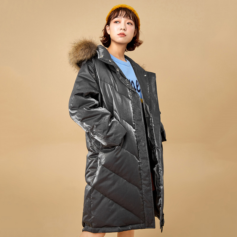 Fashion Print Winter White Duck   Down     Coats   Women Real Raccoon Fur Collar Hooded Long Parka 2019 New Arrival Women's   Down   Jacket