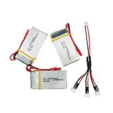 3pcs/lot 2S 7.4V 1500Mah 25C JST plug Lipo Battery With 1split3 cable charger For WLtoys V913 L959 L202 Toy battery RC