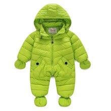 Младенческой ребенка детский зимний комбинезон 2016 новые зимние новорожденный мальчики девочки верхняя одежда пальто пуховик с капюшоном комбинезон младенца снег износ