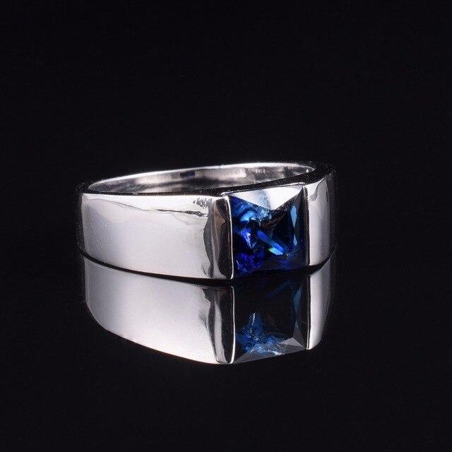 Мужская вечность 925 стерлингового серебра квадратный натуральный голубой сапфир камень пасьянс кольцо размер 8-12