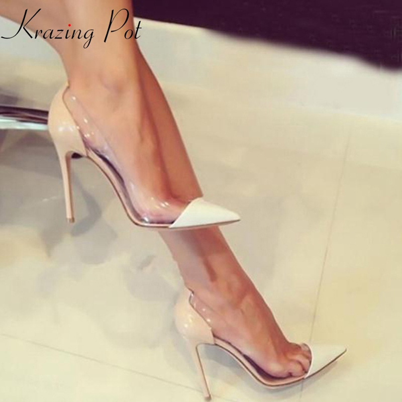 2019 brand shoes shallow high heels shallow women pumps transparent pointed toe party superstar nightclub wedding