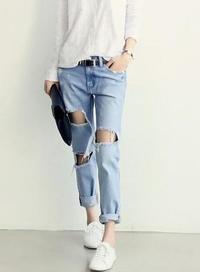 c0276b6d4e3 New Fashion American apparel blue baggy boyfriend jeans for women with holes  baggy ripped jeans femme plus size 6XL pants-in Jeans from Women's Clothing  on ...