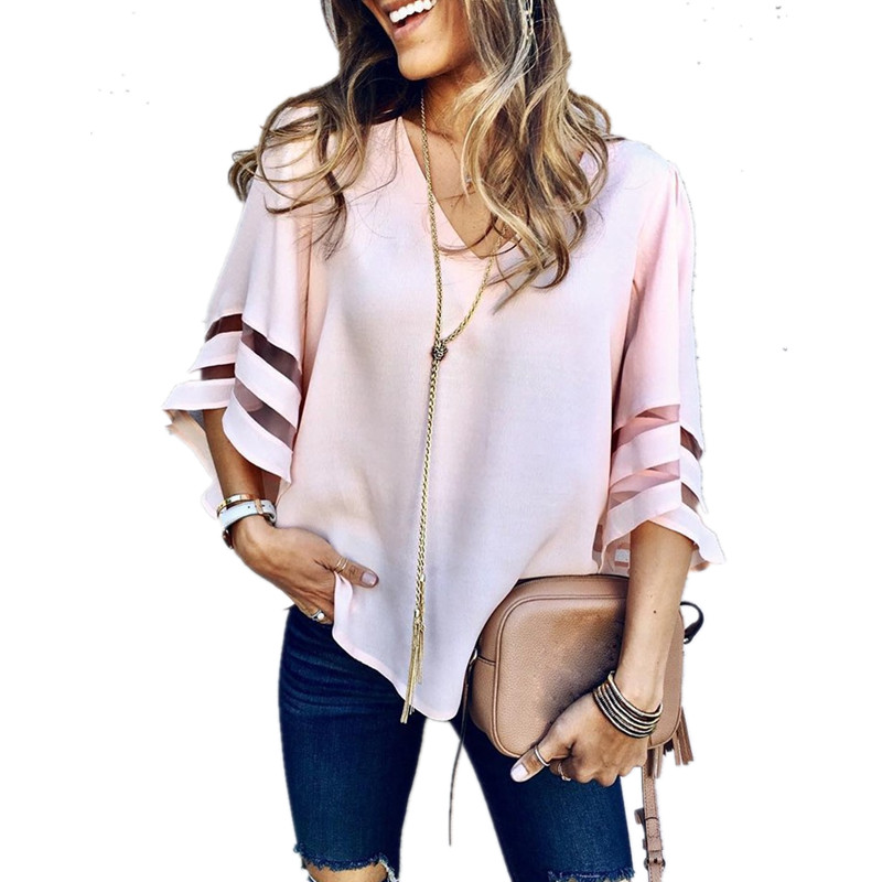 LOSSKY Mesh Stitching Women   Blouse     Shirts   Sexy V Neck Casual Loose 3/4 Flare Sleeve Solid Summer Blusas   Shirt   Summer Female Tops