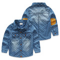 SL-678, airplane, children boys denim shirts, spring long sleeve denim outwear