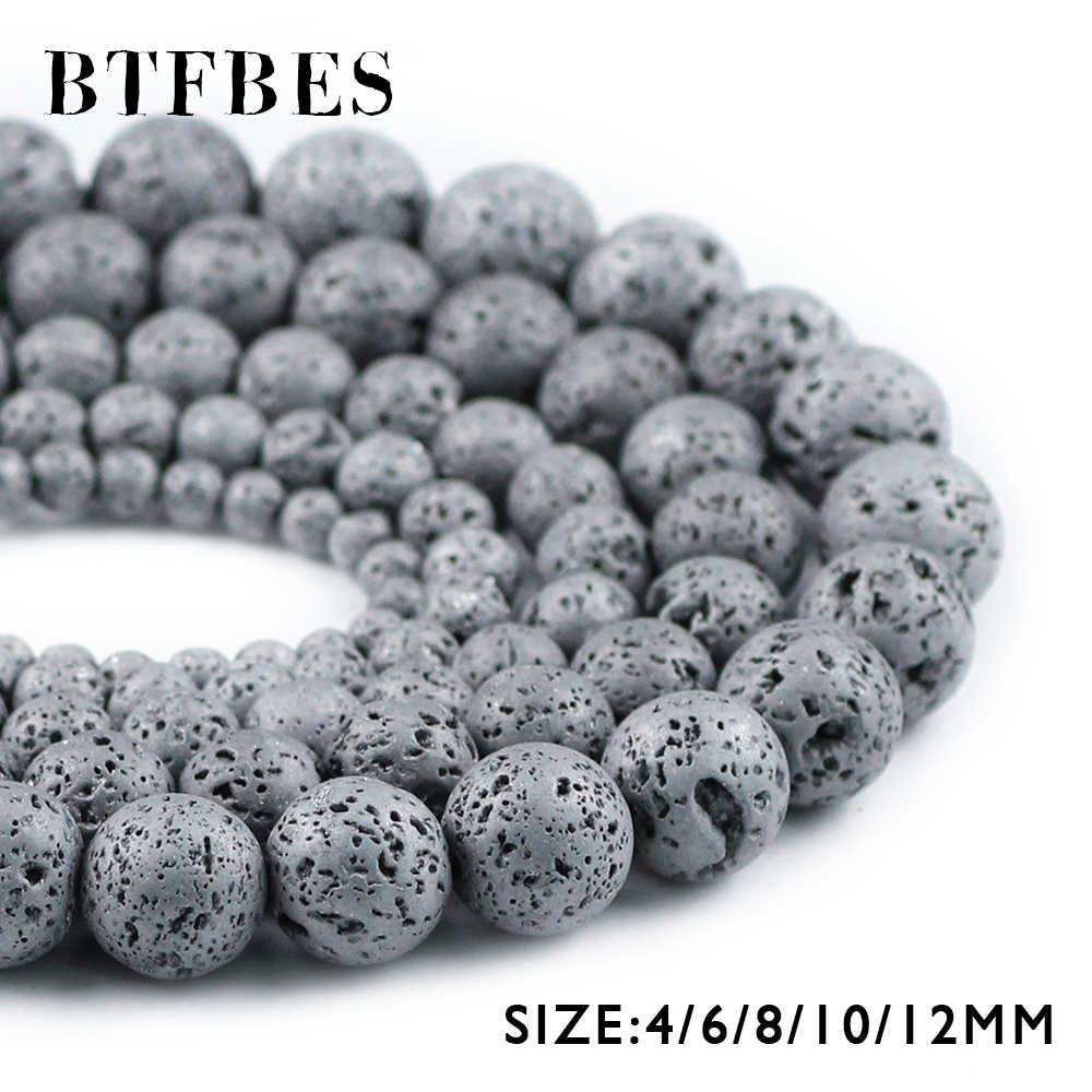 BTFBES Plating Silver Color Lava Beads 4 6 8 10 12mm Natural Volcanic Rock Stone Loose beads DIY Jewelry Bracelet Earring Making