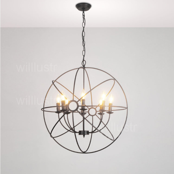 Vintage Pendant Lamp FOUCAULT'S ORB CHANDELIER RUSTIC IRON Loft industry country gyro diameter 50cm 65cm 80cm suspension light - 2