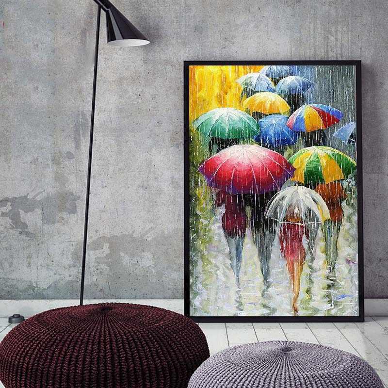 الطلاء بواسطة أرقام الفن الطلاء حسب عدد DIY بها بنفسك المشهد يوم ممطر المطر مظلة مظلة الضغط اللوحة غرفة المعيشة