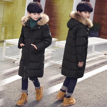 Kids Winter Down Jacket 90% White Duck Down Children Outerwear Coat Natural Fur Collar For Teenagers Boys Parkas Coat  Clj181