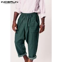 INCERUN 2020 Winter Men's Fashion Comfort Pants Stripe Elastic Waist Jogging Hippop Wide Leg  Street  Trousers Men Joggers 5XL