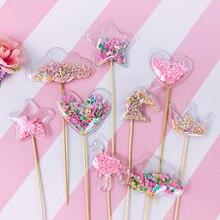 Bling Fairy ПВХ Топпер для торта Единорог Любовь Корона облако Блестящий Фламинго кекс Топпер для свадьбы День рождения украшения торта