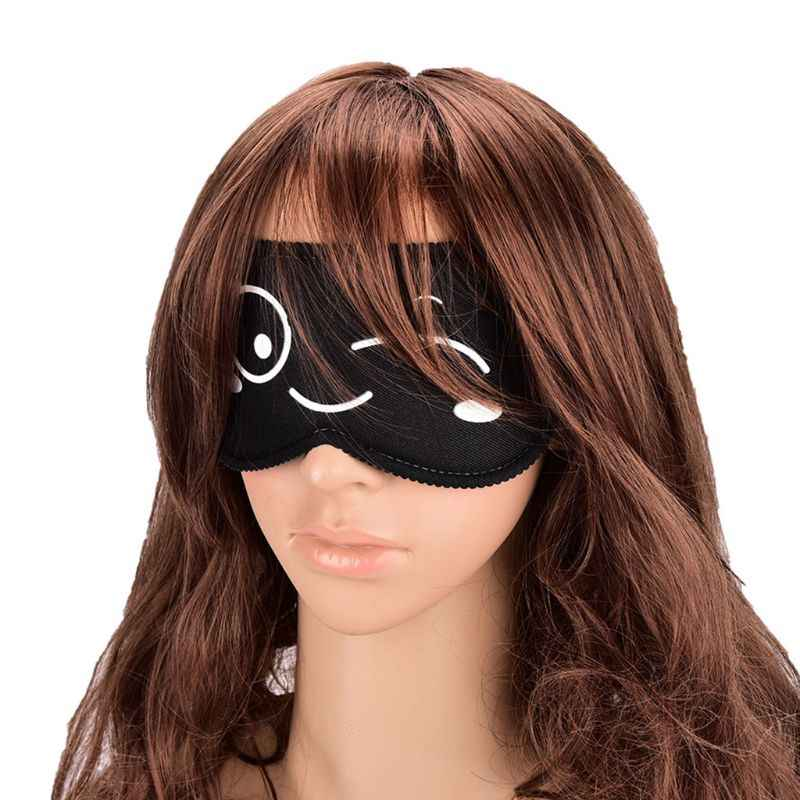 1 pieza de dibujos animados lindo impreso máscara de ojo de dormir caracteres chinos de poliéster de algodón Nap sombra cubierta de viaje portátil blindado