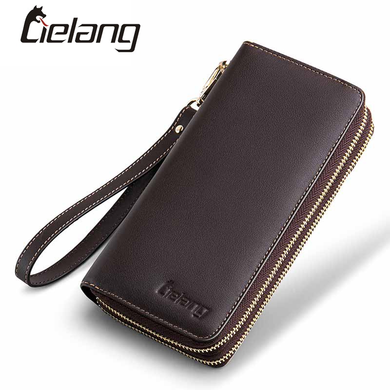Genuine leather Wallet For Men Cluth Wristlet Wallet Double Zipper Purse Large Capacity Card Holder Male Passport Wallets Long bostanten wristlet split leather men wallets zipper coin purse holders design leather male wallet large capacity wallet for men