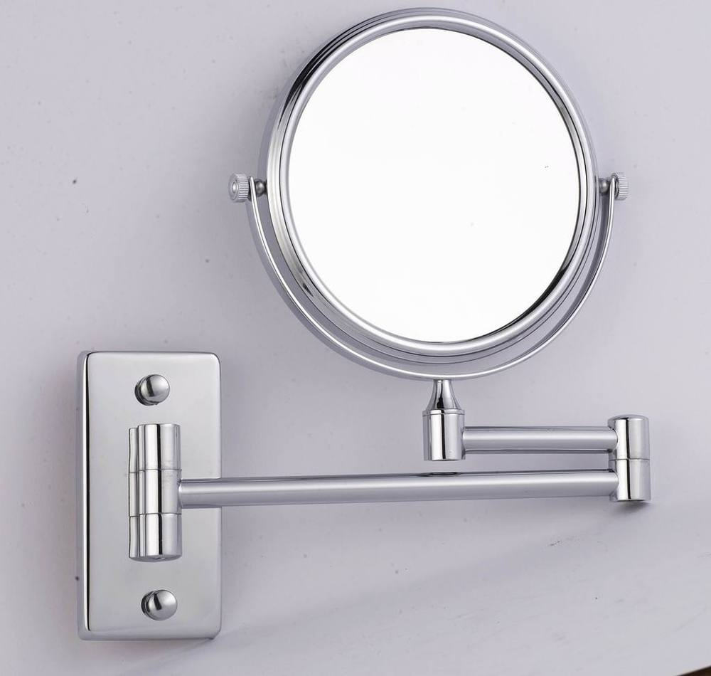 Delicacy wall mounted double sided mirror bathroom mirror folding magnifier makeup mirror bathroom accessories in bath mirrors from home improvement on