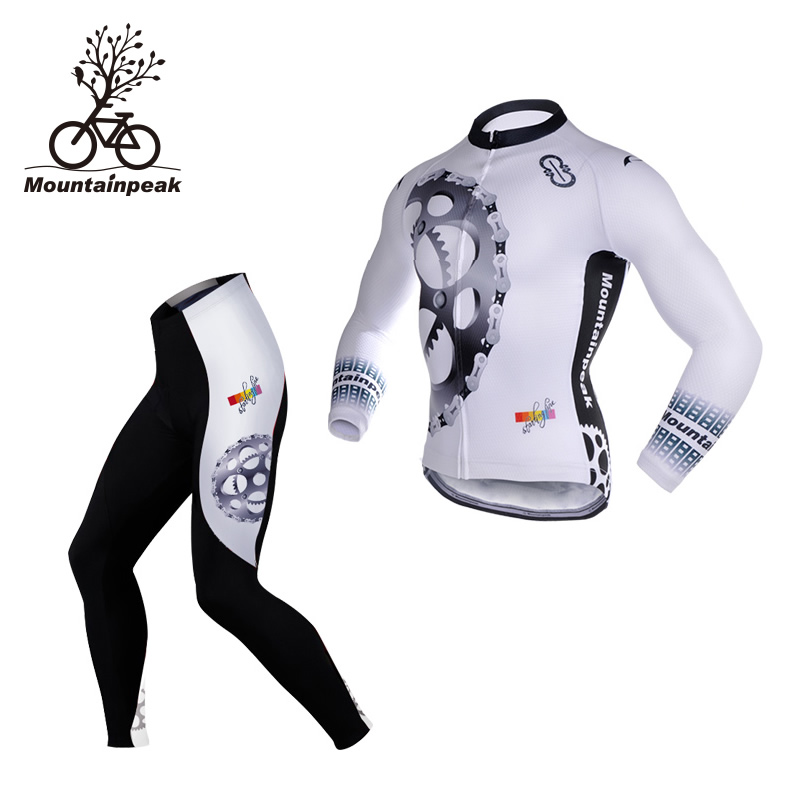 Mountainpeak New Spring&Autumn Long Sleeve Man & Women Cycling Jerseys Sets Breathable Quick Dry Bike Clothing Bicycle Equipment actionclub mens winter cycling jerseys sets straps cycling suit long sleeve bicycle bike clothing male breathable running set