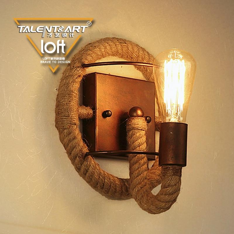 ФОТО American Retro Hanging Wall Lamp Bedroom Stairs Aisle Wrought Iron Hemp Rope Twine Wall Lamp