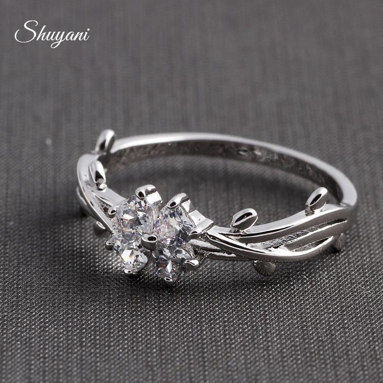 Shuyani Bijoux Argent Or Rose Couleur Cristal Bague Fleur De Mode