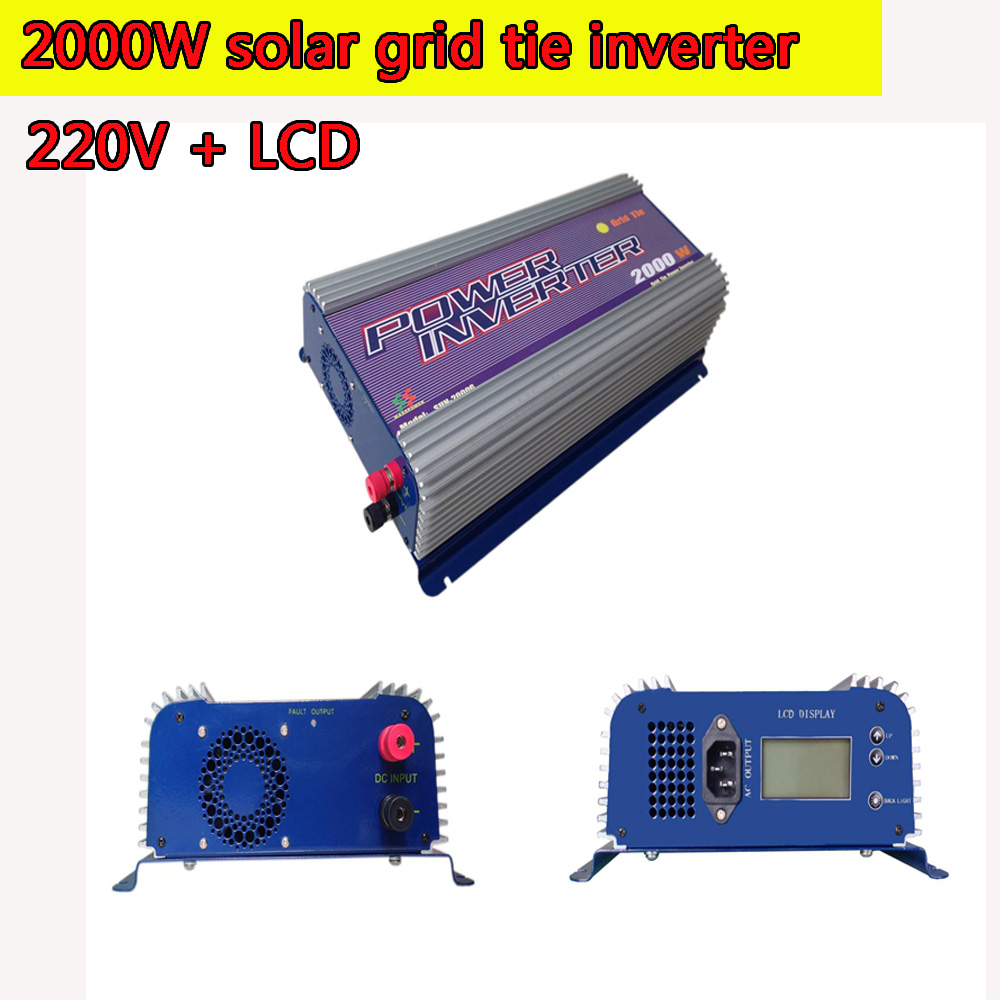 2000W Grid Tie Power Inverter 220V LCD Pure Sine Wave DC to AC Solar Power Inverter MPPT Function 45V to 90V Input High Quality 1kw solar grid tie inverter 12v dc to ac 230v pure sine wave power pv converter