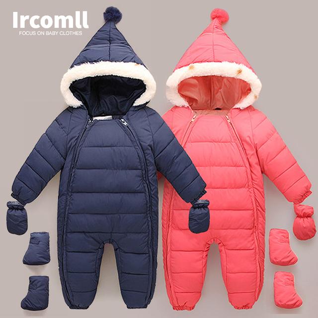 Abajo de Algodón de Los Mamelucos Del Bebé de Invierno Gruesa Niños Niñas Traje de Bebé Traje Para La Nieve Caliente Chico Mono Niños ropa de Abrigo Ropa de Bebé 0-18 m
