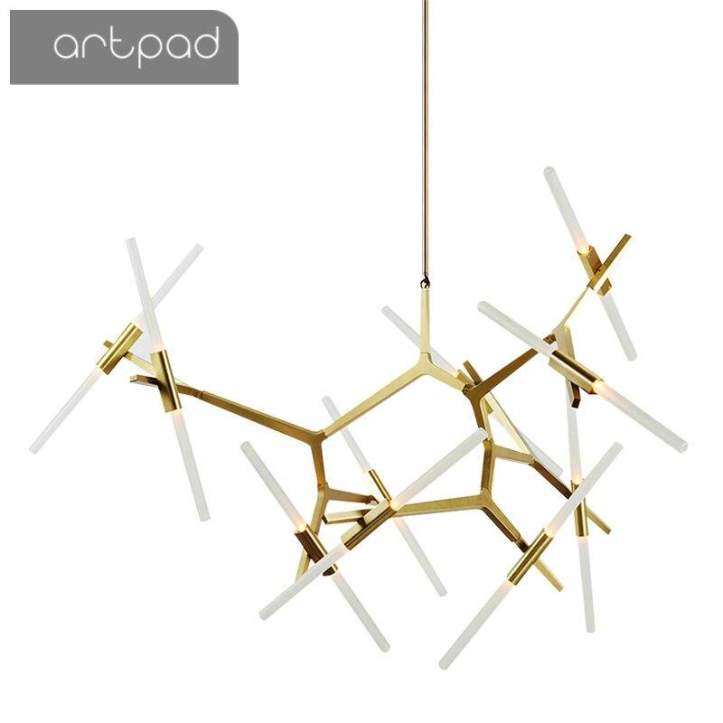 Artpad Post-moderne nordique à chevrons contemporain pendentif lumière salon salle à manger hôtel Hall lampes modernes suspendus G9 ampoule