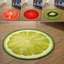 1Pc Soft Warm Fruit Rug Kid Sitting Carpet 3D Print Round Bedroom Kitchen Door Mat Size 3d pineapple print door mat