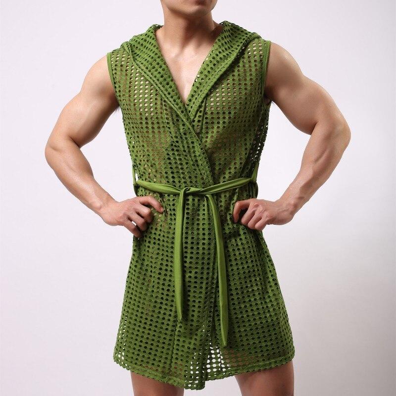 2019 Summer New Men Robe Sleeveless Breathable Big Mesh Sleepwear Nightwear Casual Kimono Bathrobe One Piece Male Nightgown(China)
