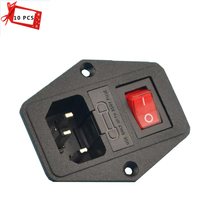 10PCS 15A 220V/110V Power Switch AC power outlet red triple Rocker Switch tripod feet copper fuse 3d printer part