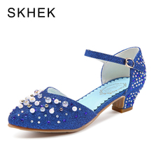 SKHEK Kids Sandals shoes Princess Pearl drilling Girls Shoes Children Shoe Girls on Party Low-Heeled Dance Sandals B511-3 цена в Москве и Питере