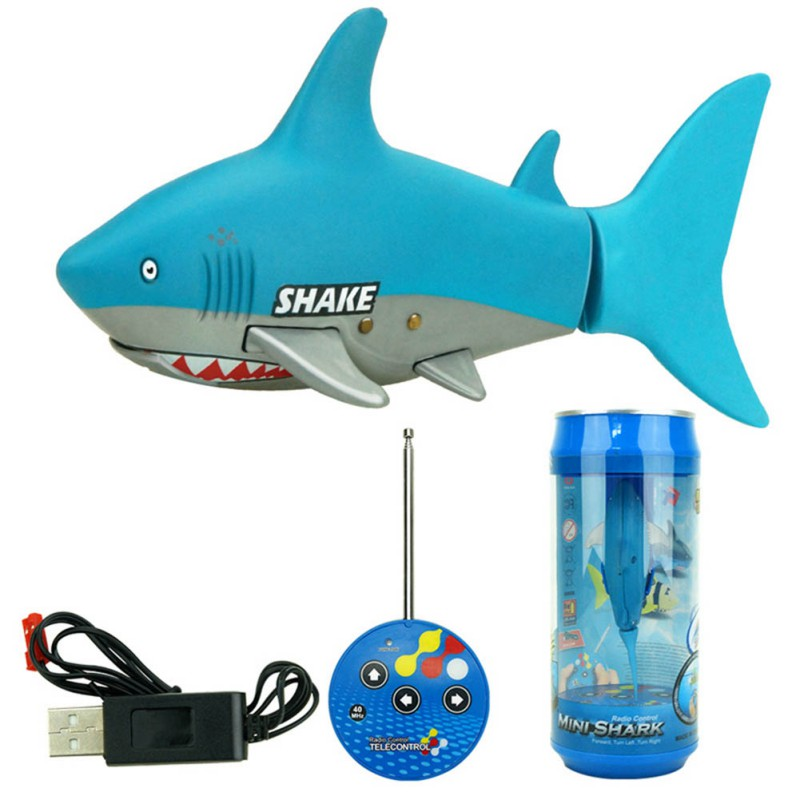 Funny Toy! 3CH 4 Way RC Shark Fish Coke Can Radio Control RC Mini Electronic Shark Fish Boat Kids Toy Gift For Kids J2