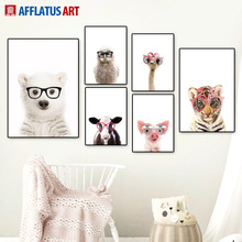 Glasses Bear Tiger Pig Owl Alpaca Nordic Posters And Prints Wall Art Canvas Painting Nursery Pictures Baby Kids Room Decor