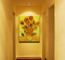 .Licy Jenny Art Van Gogh famouss painting Sunflower Luxury hand copying Oil frame