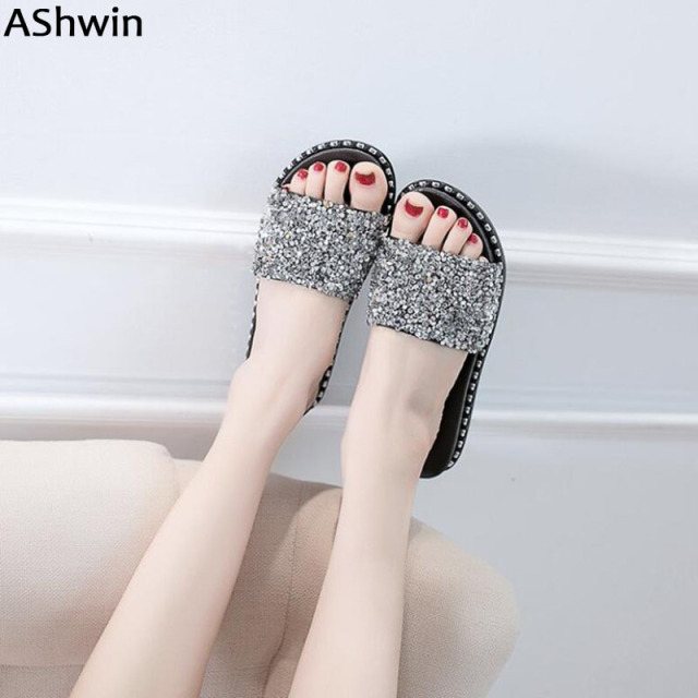 a12d6e538 AShwin shiny slippers cork shoes summer flip flops casual flats slides  woman sandals jelly glitter beach