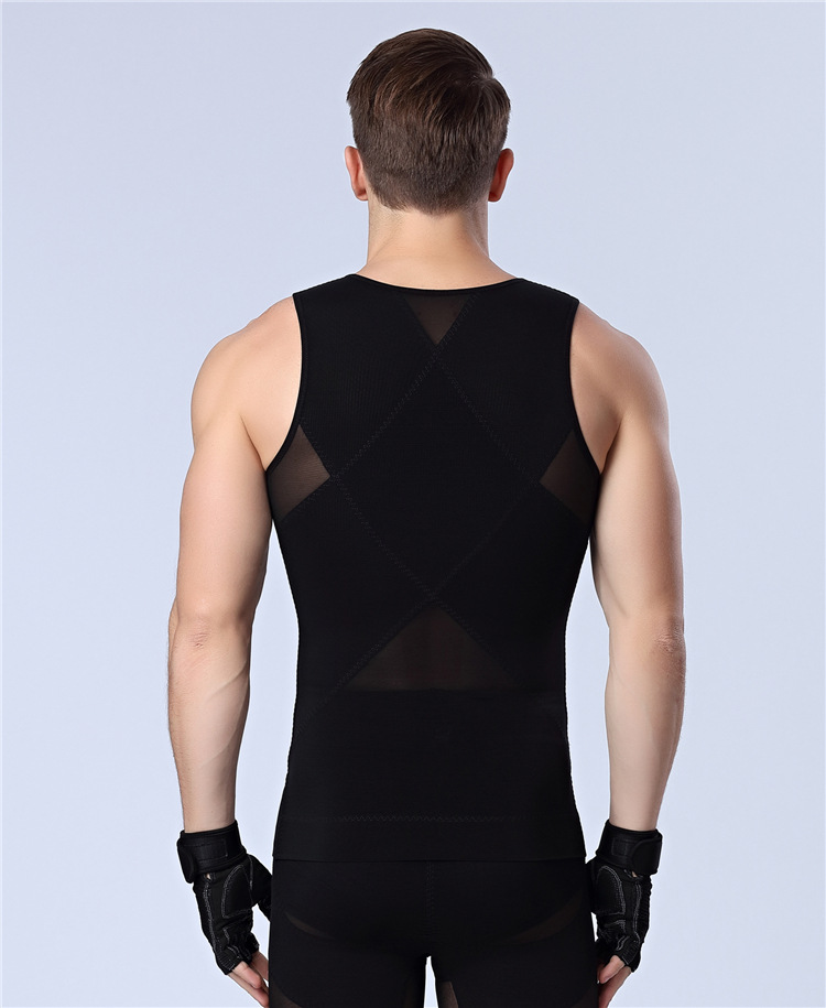 2pcs Power Men Reduce  Shaper Underwear shirt Slimming tank sleeveles vest top Beer belly Control Zipper Tummy trimmer